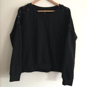 BETSEY JOHNSON Lace Up Sleeves Black Sweatshirt